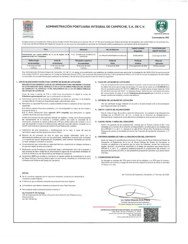 Convocatoria Licitación Pública Estatal 002, 11 de mayo de 2020