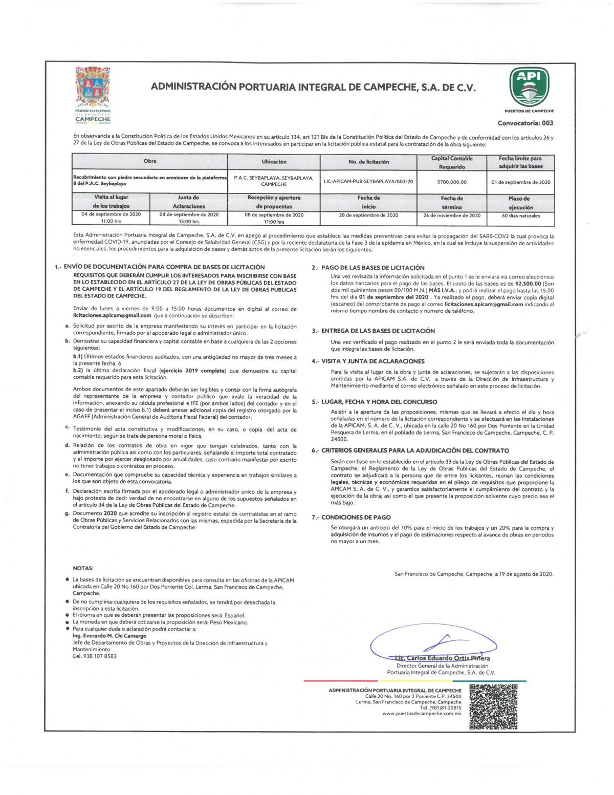 Licitación No. LIC-APICAM-PUB-SEYBAPLAYA/003/20
